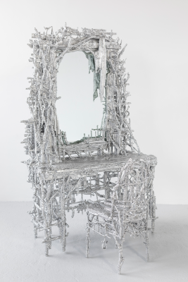 Chris Schanck, Curbed Vanity, mixed media, aluminum foil, and resin. Photo by Clare Gatto