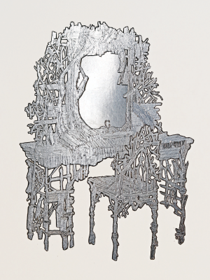 Chris Schanck, proposal for Curbed Vanity, 2019, aluminum foil and pencil on paper