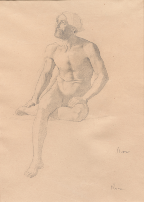 Edgar Degas, Seated Male Nude (recto), 1856-1858, pencil on paper, Dallas Museum of Art, Bequest of William B. Jordan and Robert Dean Brownlee, 2019.72.21.A-B