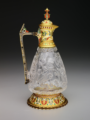 Ewer, late 10th-early 11th century, rock crystal, with enameled gold repairs and fittings by Jean-Valentin Morel (1794-1860), French, The Keir Collection of Islamic Art on loan to the Dallas Museum of Art, K.1.2014.1.A-B