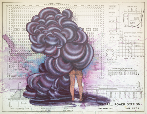 Firelei Báez, Untitled (Central Power Station), 2019, acrylic and oil on archival printed canvas, Dallas Museum of Art, TWO x TWO for AIDS and Art Fund, 2019.91. Courtesy of the artist and James Cohan, New York