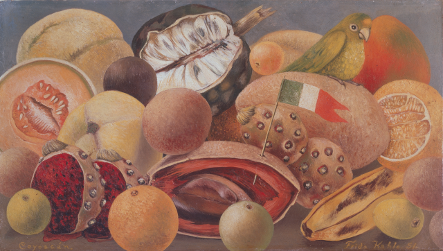 Frida Kahlo, Still Life with Parrot and Flag, 1951, oil on masonite, Private Collection, Courtesy Galería Arvil. © 2021 Banco de México Diego Rivera Frida Kahlo Museums Trust, Mexico, D.F. / Artists Rights Society (ARS), New York