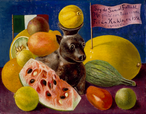 Frida Kahlo, Still Life, 1951, oil on masonite, Private Collection, Courtesy Galería Arvil. © 2021 Banco de México Diego Rivera Frida Kahlo Museums Trust, Mexico, D.F. / Artists Rights Society (ARS), New York