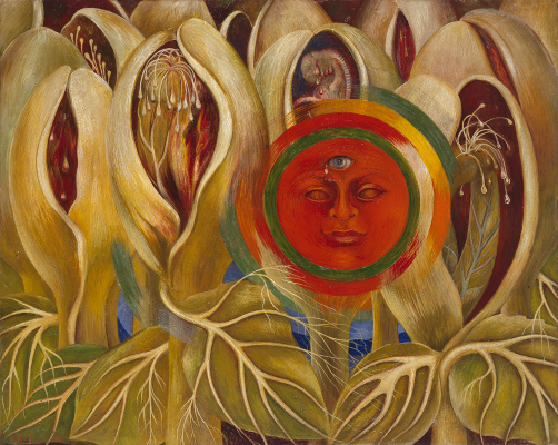 Frida Kahlo, Sun and Life, 1947, oil on masonite, Private Collection, Courtesy Galería Arvil. © 2021 Banco de México Diego Rivera Frida Kahlo Museums Trust, Mexico, D.F. / Artists Rights Society (ARS), New York