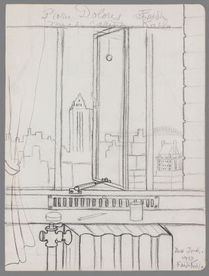 Frida Kahlo, View of New York (Dedicated to Dolores del Río), 1932, pencil on paper, Private Collection, Courtesy Galería Arvil. © 2021 Banco de México Diego Rivera Frida Kahlo Museums Trust, Mexico, D.F. / Artists Rights Society (ARS), New York