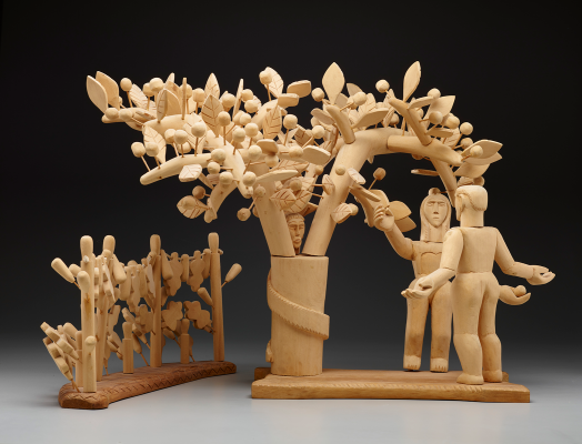 George López, Adam and Eve and the Tree of Life, 1956, carved cottonwood, pine, cedar, Dallas Museum of Art, Dallas Art Association Purchase, 1956.100.1