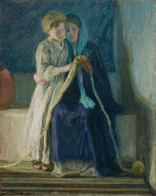 Henry Ossawa Tanner, Christ and His Mother Studying the Scriptures, c. 1908, oil on canvas, Dallas Museum of Art, Deaccession Funds, 1986.9
