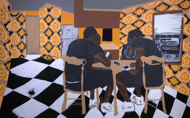 Jammie Holmes, Four Brown Chairs, 2020, acrylic on canvas, Dallas Museum of Art, Charron and Peter Denker Contemporary Texas Art Fund, 2020.25