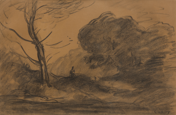 Jean–Baptiste–Camille Corot, Paysage, n.d., charcoal on paper, Dallas Museum of Art, Bequest of William B. Jordan and Robert Dean Brownlee, 2019.72.15