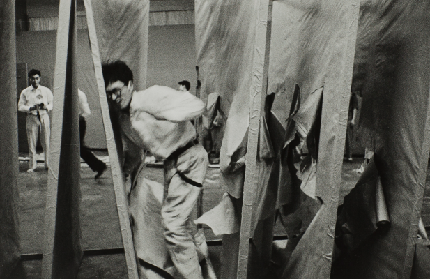 """Kiyoji Otsuji, Gutai Photograph, 1956–1957, printed 2012, black-and-white photograph, The Rachofsky Collection and the Dallas Museum of Art through the TWO x TWO for AIDS and Art Fund, 2012.36.20, ©︎ Tetsuo Otsuji. Courtesy of Musashino Art University Museum & Library / Tokyo Publishing House. From the portfolio """"GUTAI PHOTOGRAPH 1956-57"""""""