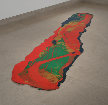 Lynda Benglis, Odalisque (Hey, Hey Frankenthaler), 1969, poured pigmented latex, Dallas Museum of Art, TWO x TWO for AIDS and Art Fund, 2003.2, © 2021 Lynda Benglis / Licensed by VAGA at Artists Rights Society (ARS), NY