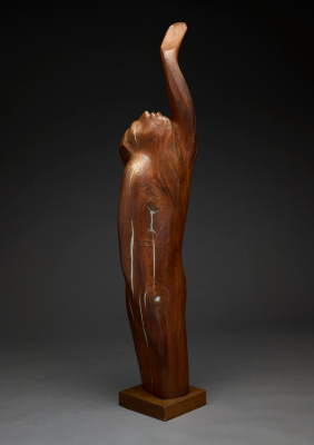 Octavio Medellín, Moses, 1955, direct carving in black walnut with lead fills, Lent by the Estate of the Artist