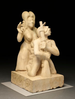 Octavio Medellín, The Spirit of Revolution, 1932, direct carving in Texas limestone, Lent by the Estate of the Artist