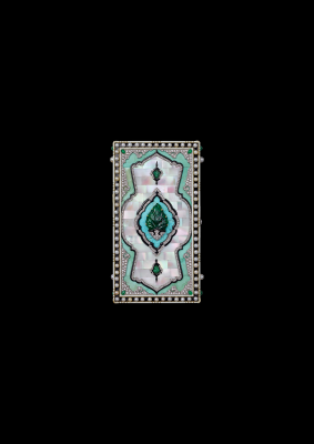 Vanity case, Cartier Paris, 1924. Gold, platinum, parquetry of mother-of-pearl and turquoise, emeralds, pearls, diamonds, black and cream enamel. Cartier Collection. Nils Herrmann, Cartier Collection © Cartier